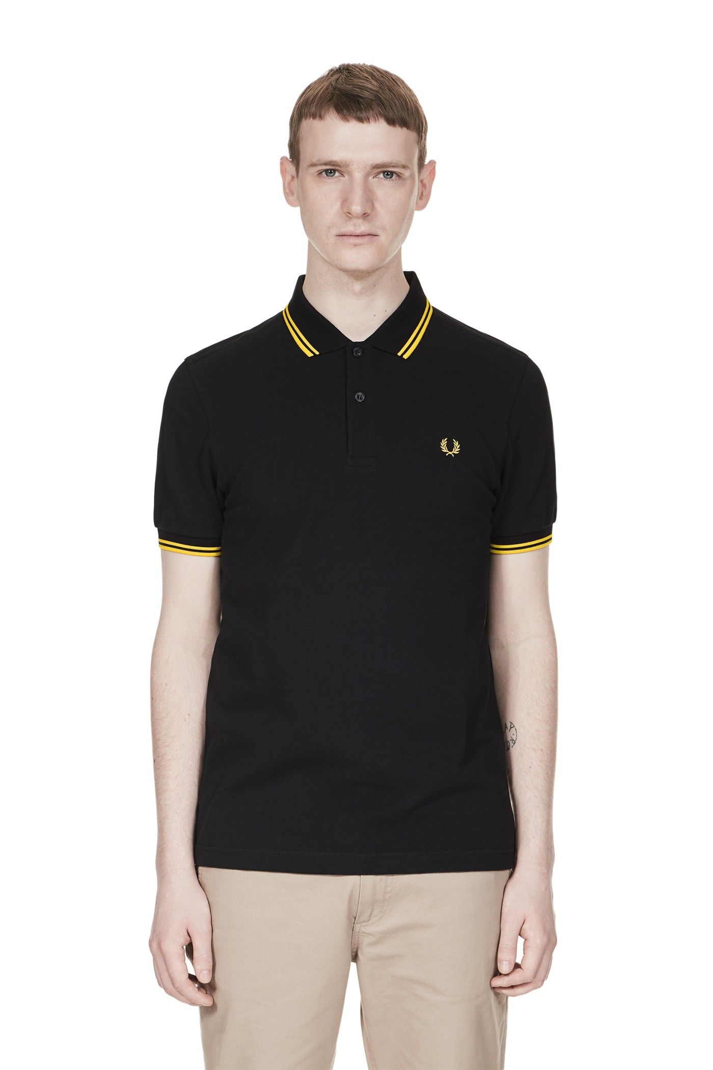 Fred Perry M3600 Black Bright Yellow Bright Yellow
