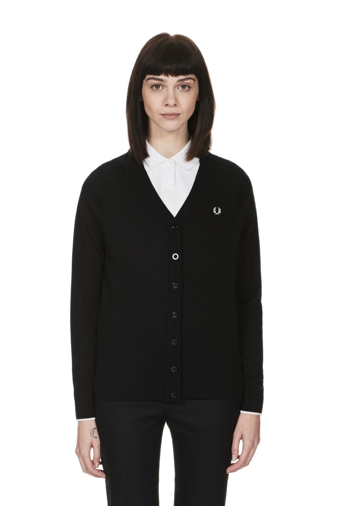 Fred Perry - V-Neck Cardigan Black