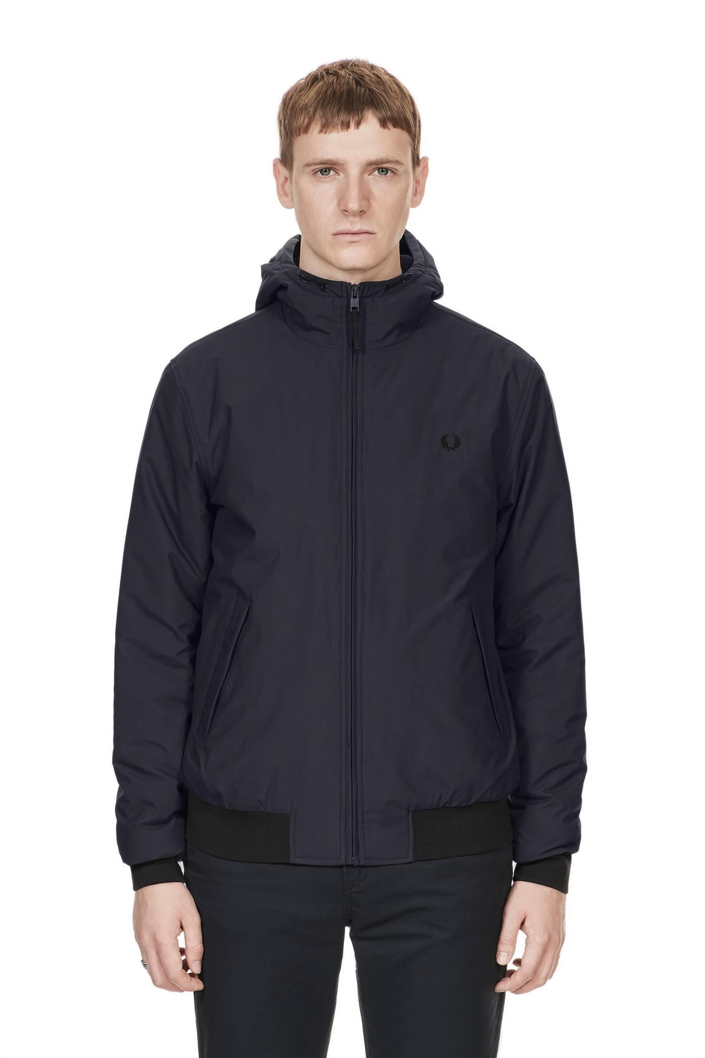 Fred Perry - Quilted Hooded Brentham Jacket Graphite : quilted hooded jacket - Adamdwight.com